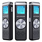 Digitales Diktiergerät,TENSAFE 8 GB Diktierapparat Tonaufnahmegerät,HD Audio Recorder,MP3-Player / A-B-Wiederholung / One-Touch-Aufnahme,Sprachrekorder für Vorträge / Meetings / Interviews / Unterricht.