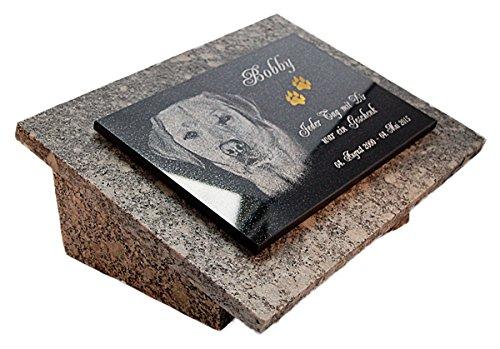 GRANIT Grabstein, Grabplatte oder Grabschmuck mit dem Motiv 'Hund-gg16s' und Ihrem Foto/Text und Daten von LaserArt24