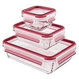 Emsa 514169 3-teiliges Frischhaltedosenset mit Deckel, Glas, Volumen 0.2, 0.5 und 1.3 Liter, Rot, Clip & Close