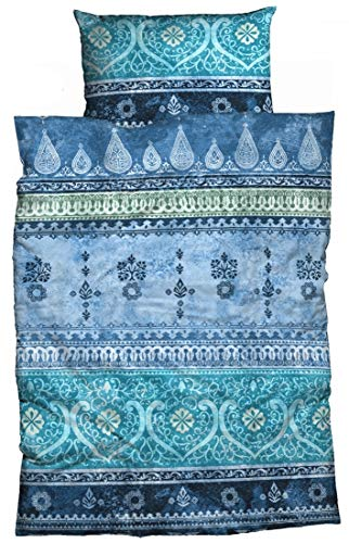 LIVING DREAMS Mako-Satin Bettwäsche Indi 135 cm x 200 cm blau