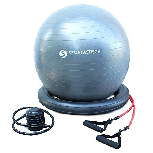 AUSGEZEICHNETER¹ Premium Gymnastikball mit Pumpe | 65cm | Bodenring & Trainingsbänder |bis 250kg | BONUS Ebook | 3 Jahre Garantie²