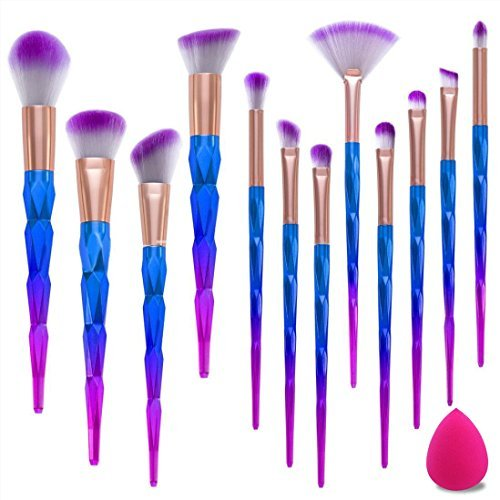 Make Up Pinsel Set 12pcs Einhorn Pinsel Schminkpinsel Kosmetikpinsel Lidschatten Gesichtspinsel Foundation Eyeliner Pinsel mit Make-up Schwamm