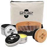 Bartpflege Set 'GLATTMACHER' von BARTFORMAT (4-Teilig) - Runde Bartbürste (Wildschweinborsten) + Bart Balsam (60ml) + Bartkamm (Birnbaumholz) - Das Bartpflege Geschenk-Set für Männer