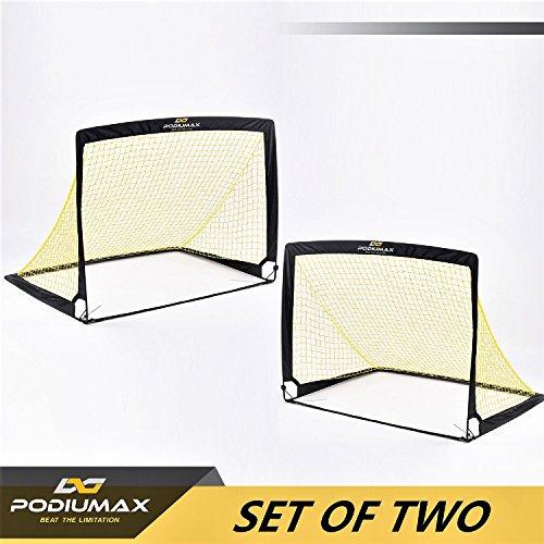 PodiuMax Portable Pop-up Fußballtore, 2er Set, langlebig & faltbare Fußballtor Net mit Tragetasche, gut für alle Altersgruppen Indoor / Outdoor-Training oder Team-Spiel (Größer(123x90x90 cm))