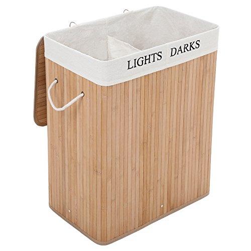 Songmics Groß 100L Bambus Faltbar Wäschekorb mit 2 Fächern H x B x T: ca. 62,5 x 52 x 32 cm LIGHTS&DARKS Wäschebox Wäschesammler mit Wäschesack aus Baumwolle zum Herausnehmen LCB64Y