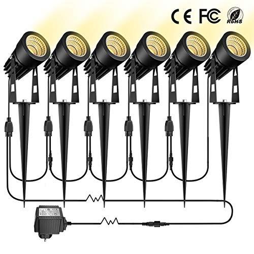 Gartenbeleuchtung GreenClick 6er Set 3W led Gartenleuchte mit Erdspieß Warmweiß,Gartenstrahler mit Stecker,Gartenlampe mit Kabel IP65 Wasserdicht Spot für Außen Rasen Weg Outdoor[Energieklasse A+++]