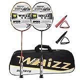 Badmintonschläger Set 2 Stk, 100% Carbon Fiber, 87g, Whizz S520 Graphit Schläger mit Tasche (Schwarz/Rot)