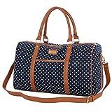 BAOSHA HB-25 Frauen Damen Canvas Travel Duffel Bag Segeltuch Reisetaschen Handgepäck Weekender Tasche für Wochenende und Übernachtung Mit PU Leder Dekoration (Blaue Tupfen)