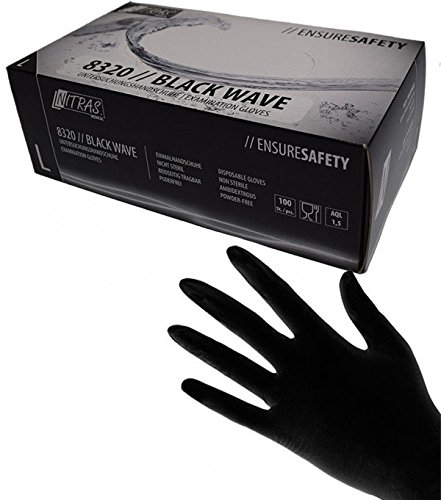 100 Stk. Nitras BLACK WAVE Nitril-Handschuhe SCHWARZ Gr.L Einmalhandschuhe 8320