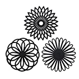 Silikon Multi Blume Topfuntersetzer (3 Stück) Premium Qualität Isolierter flexibel robust rutschfeste Hot Pads und Untersetzer Cup