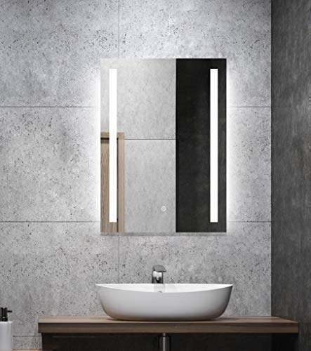 ALLDREI Badspiegel mit Beleuchtung AD27 Badezimmerspiegel mit LED licht, Touch Schalter – Senkrecht Montage 50 x 70 cm, Weiß Lichtfarbe, Farbtemperatur 6500K, Lumen 936, Energieklasse A++