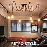 Retro DIY Industrielles Hängeleuchte Pendelleuchte, Kopf Hanf-Seil-hängendes Licht für das Speisen, Halle, Restaurant, Stab,Café
