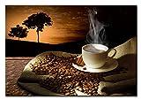 BERGER DESIGNS - Bild auf Leinwand als Kunstdruck in verschiedenen Größen. Modernes Küchenbild Kaffee. Beste Qualität aus Deutschland (60 x 40 cm (BxH))