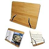 Bambus Kochbuchhalter - Leseständer (33,5 x 24 cm) mit 5 verstellbaren Neigungswinkeln - Buchhalter für Kochbuch, Rezept, iPad, Tablet und Musiknoten