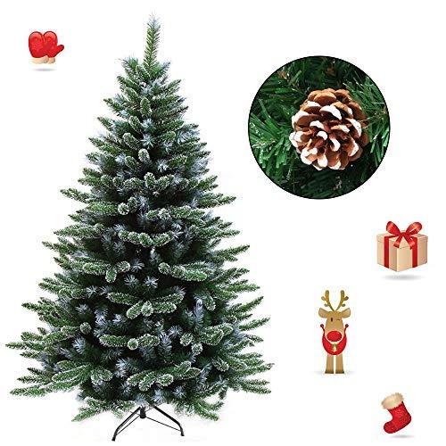 Froadp 180cm Künstlicher PVC Weihnachtsbaum Tannenbaum Kiefernadel Mit Schnee-Effekt(Schnee-Effekt, 180cm)