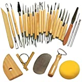 Keramik Werkzeug, Cozyswan Neue 30pcs Tonwaren-Werkzeuge, die Skulptur-Schnitzen-Werkzeug-Satz, vorbildliche Werkzeuge u. Hölzernes Skulptur-Messer für Töpfer / Künstler des Keramiks schnitzen