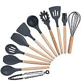 WUYASTA Küchen Utensilien Set 11 Stück Silikon-Küchengeräte Hitzebeständig Kochbesteck Hervorragende Haltbarkeit (Schwarz)