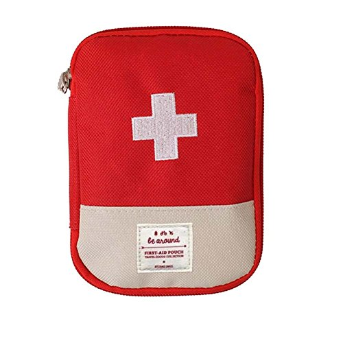Mini Erste-hilfe-tasche Leer, tragbare Medizin Aufbewahrungstasche Drogen-Verpackung Tasche für Outdoor-Reisen (Rot)