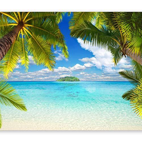 murando - Fototapete Tropische Insel 350x256 cm - Vlies Tapete - Moderne Wanddeko - Design Tapete - Wandtapete - Wand Dekoration - Tropical Insel Strand Meer See Landschaft Palmen Laguna 10110903-21