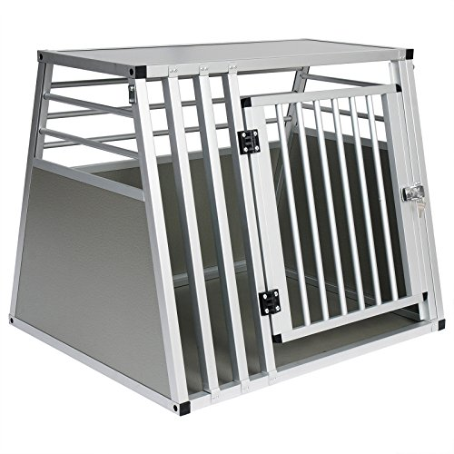 EUGAD Hundebox Box Hundetransportbox Transportbox Alubox Aluminium Alu Box 1 Türig Reisebox Gitterbox Silber 0061HT