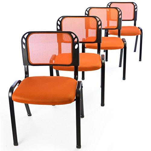 4er Set Bürostuhl Konferenzstuhl Besucherstuhl orange gepolsterte Sitzfläche stapelbar 52,5 x 45 x 80 cm Stapelstuhl Metallrahmen schwarz