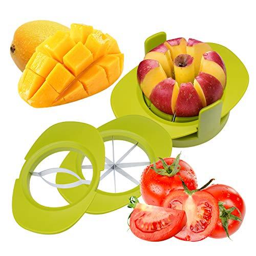 Mrrainbow 4 in 1 Obstschneider Set, Obstschneider mit Apfelschneider Mangoschneider Tomatenschneider Fruchthalter Apfel Corer 8 Klingen aus rostfreiem Stahl