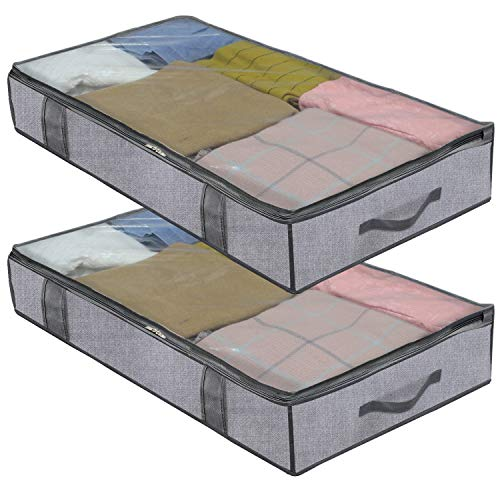 homyfort 2 Stück Premium Unterbettkommode mit Sichtfenster, Unterbett-Aufbewahrungstasche Kleideraufbewahrung, Decken Organisator Lagerbehälter, 4 Haltegriffen, 100x 50x 15 cm, Grau Leinen, XDUBBP2