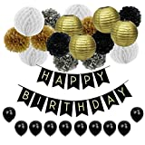 JUSLIN 28 Geburtstag Party Dekoration mit Seidenpapier Pompoms Papier Laternen Wabenball Latexballons Happy Birthday Wimpelkette Banner für Geburtstagsfeier, Schwarz, Gold und Silber