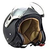 SOXON SP-325-MONO Night · Jet-Helm Retro Scooter-Helm Helmet Bobber Cruiser Motorrad-Helm Biker Chopper Roller-Helm Pilot Vintage Vespa-Helm Mofa · ECE zertifiziert · mit Visier · inkl. Stofftragetasche · Schwarz · S (55-56cm)
