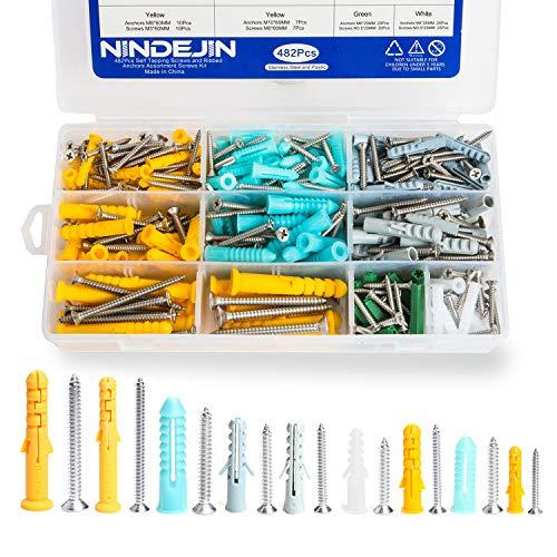 Dübel Set Schrauben-Sortiment,482Pcs Selbstschneidende Schraube Sortiment Kit,NINDEJIN M3.5 M4.2 M5 M6 Expansion Tube Schraubensätze Aufbewahrungsbox