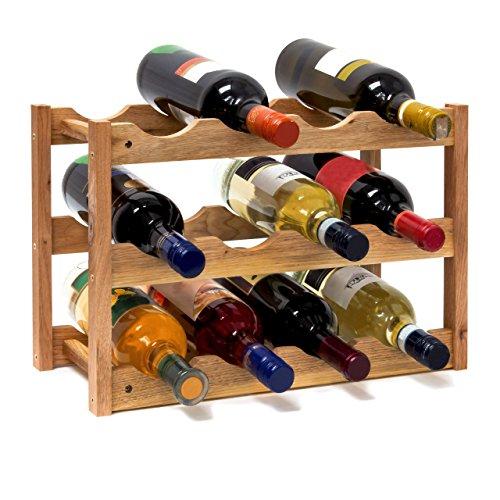 Relaxdays 10019279 Weinregal klein 28 x 42,5 x 21 cm Holz Flaschenregal mit 3 Ebenen für 12 Flaschen Wein kleiner Weinflaschenhalter aus Walnuss geölt zur waagerechten Lagerung, natürlich