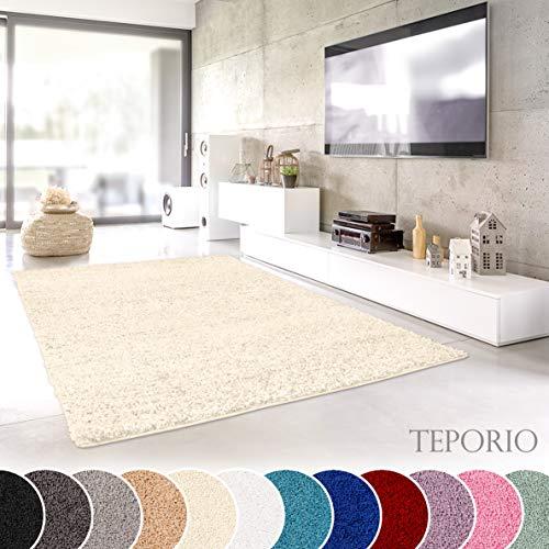 Shaggy-Teppich | Flauschiger Hochflor fürs Wohnzimmer, Schlafzimmer oder Kinderzimmer | einfarbig, schadstoffgeprüft, allergikergeeignet in Farbe: Creme; Größe: 80 x 150 cm