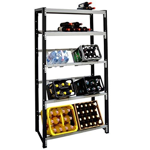 Getränkekistenregal für 6 Kisten plus Ablagen für Weinflaschen - für Wandmontage geeignet (Hauptregal)