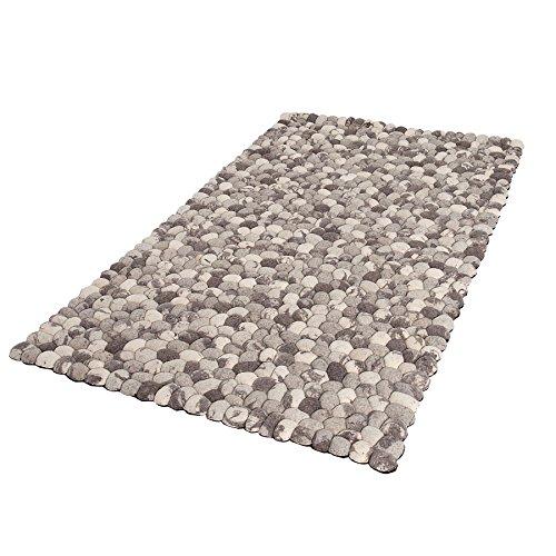 Einzigartiger Teppich GOOLIE 200x120cm grau Filz Steinoptik handgewebt Wohnzimmerteppich Wollteppich