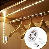LED Streifen mit Bewegungsmelder, OriFiil 1m 30 LEDs Lichtleisten USB Wiederaufladbare Bettlicht Schranklicht mit 3 Modi und Timer, Nachtlicht für Schlafzimmer, Kleiderschrank, Baby Beleuchtung warmweiß