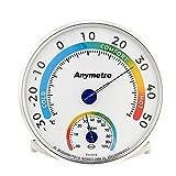 Uten Temperatur- und Luftfeuchtigkeitsmesser für Innen- und Außenbereich, Thermometer Analog-Monitor, Babyzimmer, Gewächshaus, Weiß