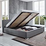 Bett mit Bettkasten Grau niedrigem Kopfteil Simple Polsterbett Lattenrost Stauraum Doppelbett (180 x 200 cm)