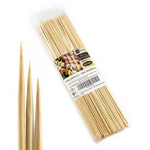 HEYNNA Premium 200er Pack Schaschlikspieße Holz 30cm / Ø3mm Grillspieße nach LFGB Maßstäben - Holzspieße aus Bambus für das Grillen und Kochen - nach LFGB Norm geprüft - 200 Stück