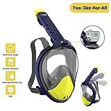 WOTEK Schnorchelmaske Vollmaske Tauchmaske Vollgesichtsmaske Tauchermaske für Kinder und Erwachsene-Snorkel Mask Full face mit 180 Grad Blickfeld, Anti-Fog Anti-Leck, Kompatibel mit GoPro,MEHRWEG