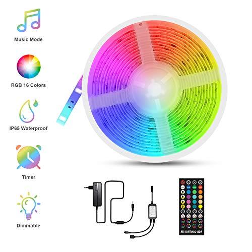 RGBW LED Strips 5m, Fansteck SMD 5050 LED Streifen mit Timer, Sync mit Musik, Dimmbare Lichterkette mit Fernbedienung, IP65 Wasserdicht LED Lichtband Selbstklebende Lichtleiste für Aussenbereiche, 12V