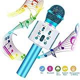 Bluetooth Karaoke Mikrofon Kinder, FishOaky Drahtlose Mikrofon Player mit Lautsprecher Dynamisches Mikrofon für Erwachsene und Kinder für Sprach- und Gesangsaufnahmen, für Android/PC