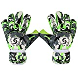 Sportout Hochwertige Torwarthandschuhe für Jugendliche und Erwachsene, Fußball Handschuhe mit strapazierfähigem 4 mm Latex und abnehmbarem Finger Schutz, ermöglichen eine Starke Kontrolle(9)