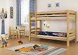 Erst-Holz Stockbett Etagenbett Kiefer 90x200 massives Hochbett f. Kinderzimmer Doppelbett Rollrost 60.10-09