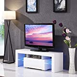 Cocoarm Fernsehschränke Moderne TV Schrank Hängeschrank Wohnzimmer Lowboard Fernsehtisch Weiß Hochglanz Tisch Möbel mit LED Streifen Fernbedienung 110V ~ 240V/130 x 35 x 45 cm