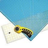 OfficeTree Set Schneidematte - 60x45 cm (A2) blau + Rollschneider + Lineal 60x16 cm - Premium-Qualität - für professionelle Schnittarbeiten -