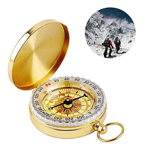 YEFIDER Messing Kompass, Portable Wasserdicht Taschenuhr Kompass Navigation Tools mit Leuchtziffern für Camping, Wandern und andere Outdoor-Aktivitäten