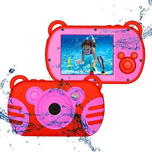 CamKing wasserdichte Digitalkamera, HD 1080P Unterwasser Kinder Anti-Fall Videokamera, 18 MP 2,7 Zoll Bildschirm 8X Mini Cartoon Kinder Videokamera Staubdicht Camcorder für Kindergeschenke (Rot)