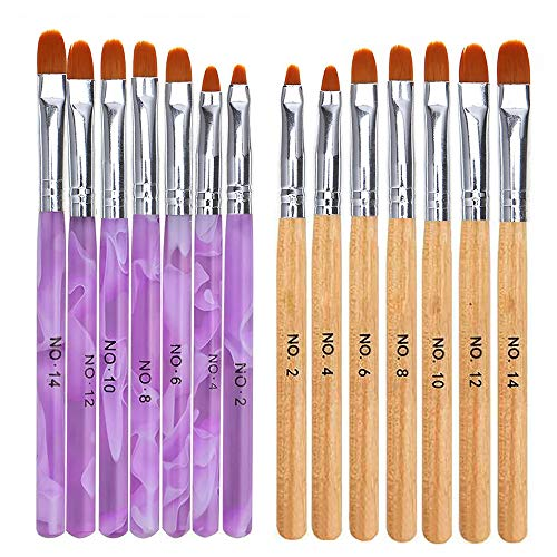 Mwoot 14 PCS Nägel Pinsel UV-Gel Pinselset Perfekt für Gel & Acryl Nägel Nailart