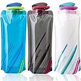 Bestzy Opvouwbare waterflessen, 700 ml, set van 3 stuks, voor wandelen, avontuur, reizen