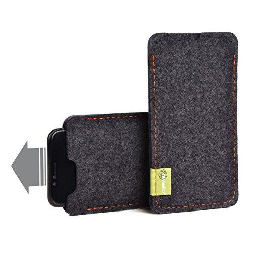 Almwild Hülle Tasche passend für Apple iPhone 11 MIT Apple Leder Case/Silikon Case BREITES Sleeve Modell 'Dezenzi' Schiefer- Grau,Schwarz aus Natur-Filz Handyhülle in Bayern handgefertigt